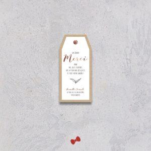 La fille au Noeud Rouge - coupon merci naissance collection kraft cuivré