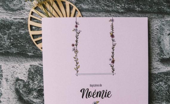 La fille au Noeud Rouge - faire-part naissance collection balançoire fleurie
