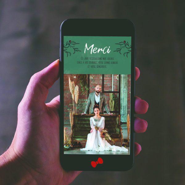 La fille au Noeud Rouge - faire-part remerciement mariage numérique urbain vegetal