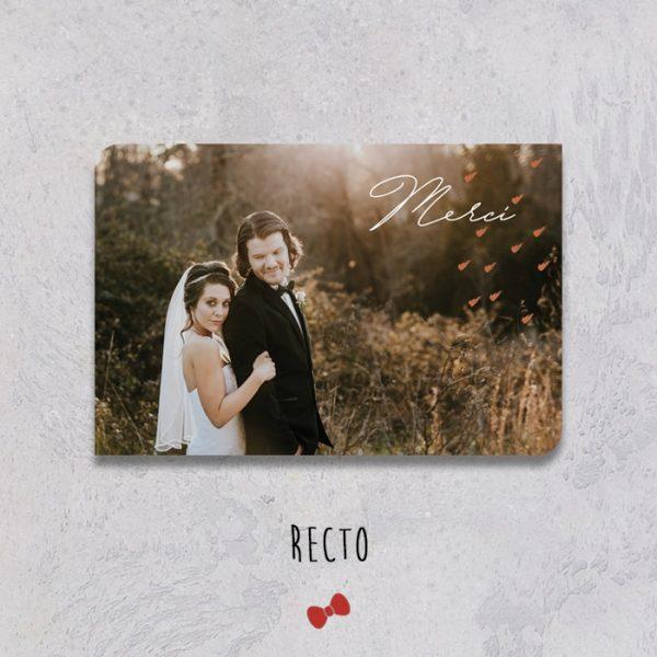 La fille au Noeud Rouge - faire-part remerciement mariage recto terracotta minimaliste