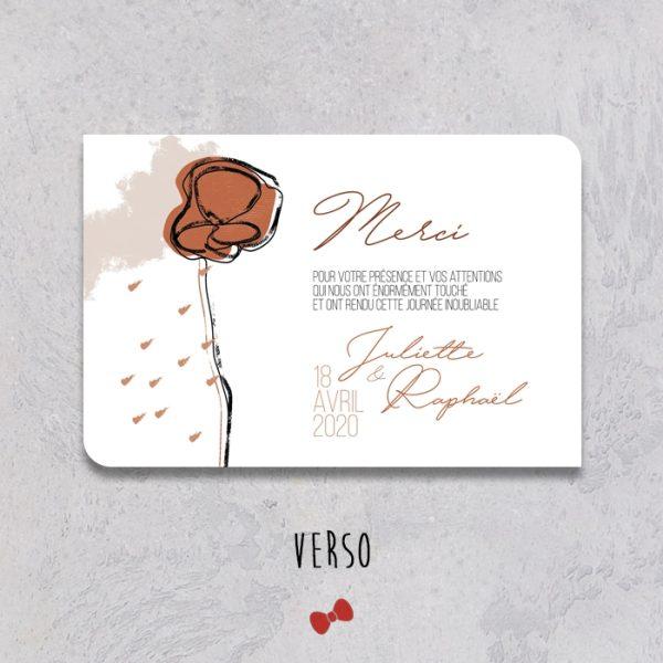 La fille au Noeud Rouge - faire-part remerciement mariage verso terracotta minimaliste