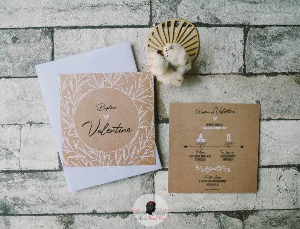 La fille au Noeud Rouge - invitation faire-part baptême minimaliste kraft végétal écriture blanche 3