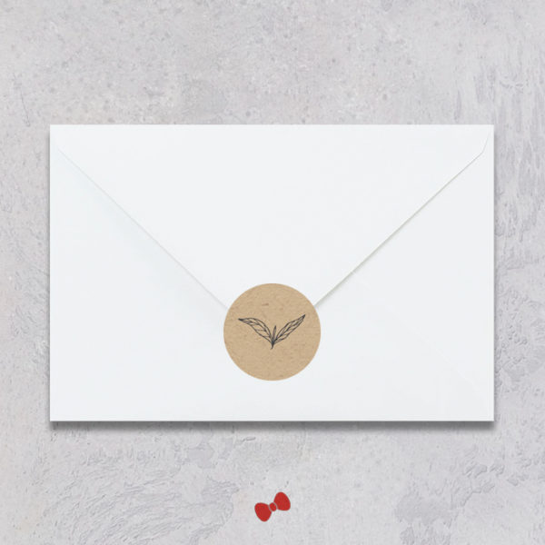 La fille au Noeud Rouge - stickers enveloppe naissance kraft cuivré