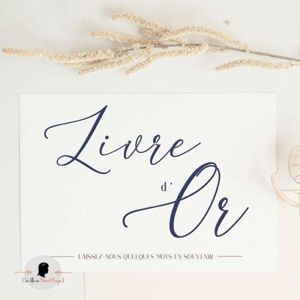 La fille au Noeud Rouge - Affiche livre d'or mariage minimaliste bleu marine