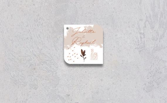 La fille au Noeud Rouge - Etiquette cadeaux invités mariage terracotta minimaliste