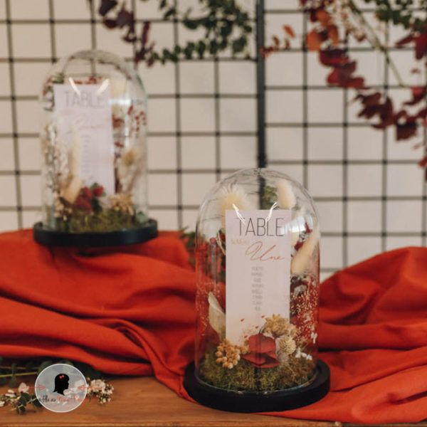 La fille au Noeud Rouge - Etiquette plan de table personnalisée mariage terracotta 2