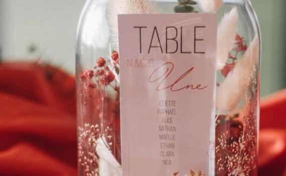 La fille au Noeud Rouge - Etiquette plan de table personnalisée mariage terracotta