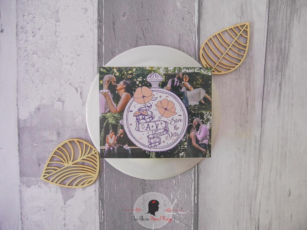 La fille au Nœud Rouge - save the date mariage sur-mesure save the date alice au pays des merveilles coquelicot magnet photo