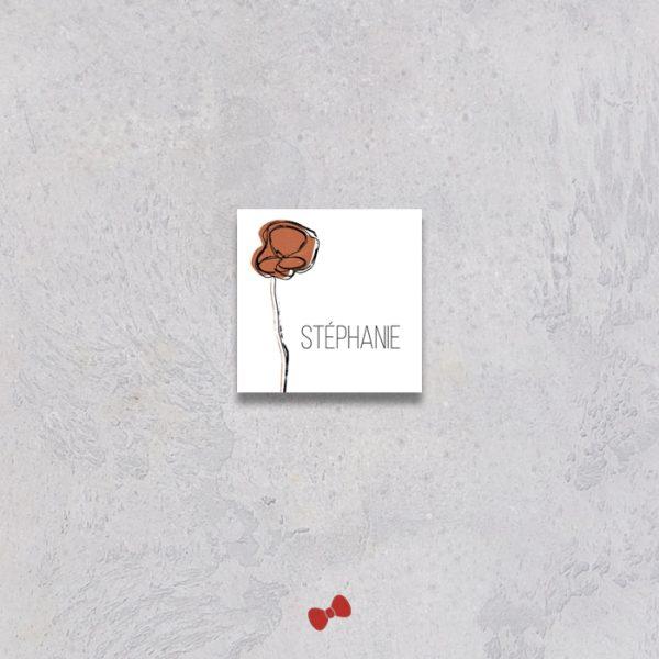 La fille au Noeud Rouge - Marque-place mariage terracotta minimaliste