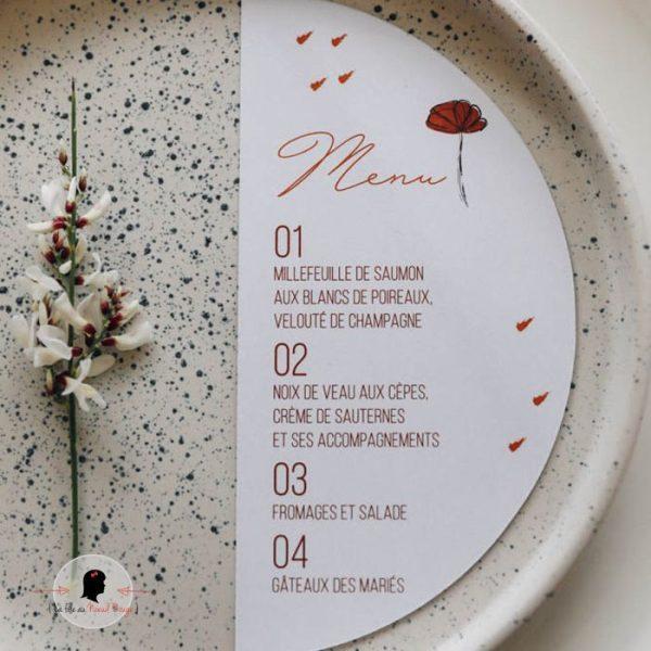 La fille au Noeud Rouge - Menu mariage terracotta individuel demi-cercle