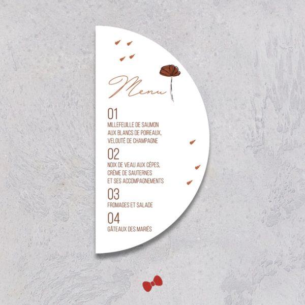 La fille au Noeud Rouge - Menu mariage terracotta minimaliste