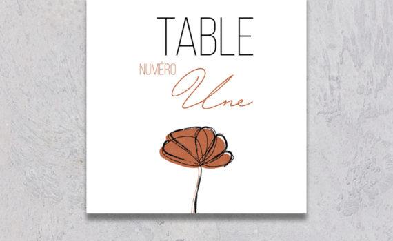 La fille au Noeud Rouge - Numéro de table mariage terracotta minimaliste