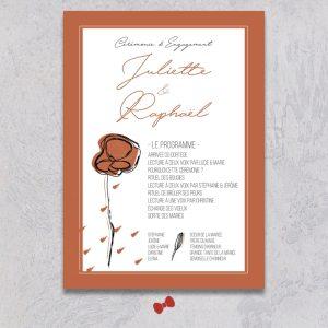 La fille au Noeud Rouge - Programme cérémonie laïque faire-part mariage terracotta minimaliste