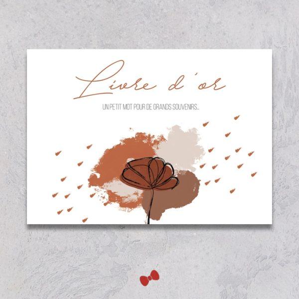La fille au Noeud Rouge - affiche livre d'or mariage terracotta minimaliste
