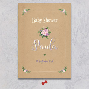 La fille au Noeud Rouge - Affiche de bienvenue baby shower bouquet bohème kraft