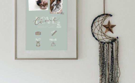 La fille au Noeud Rouge - affiche naissance chambre bébé collection modern love photo