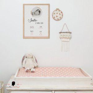 La fille au Noeud Rouge - affiche naissance petits pois fleuris photo