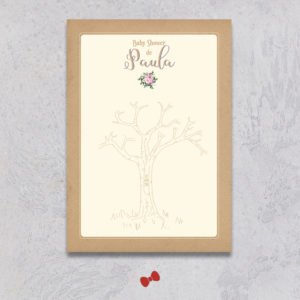 La fille au Noeud Rouge - arbre à empreintes baby shower bouquet bohème kraft