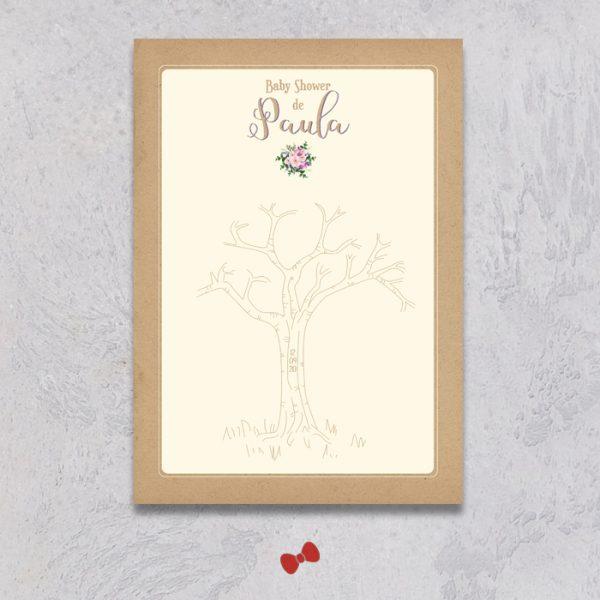 La fille au Noeud Rouge - arbre à empreintes baby shower bouquet bohème kraft