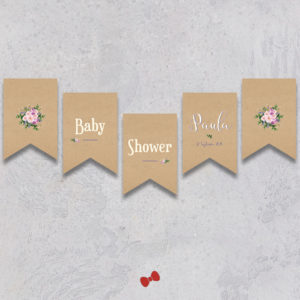 La fille au Noeud Rouge - banderole baby shower bouquet bohème kraft