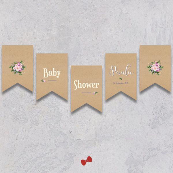 La fille au Noeud Rouge - banderole baby shower bouquet bohème kraft