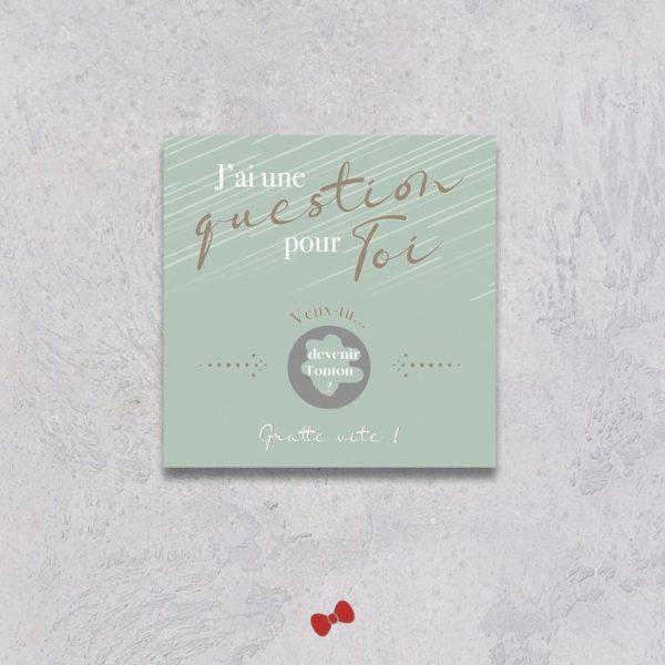 La fille au Noeud Rouge - carte à gratter question veux tu devenir tonton collection modern love