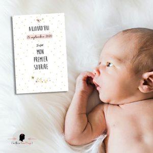 La fille au Noeud Rouge - carte étape bébé collection naissance petits pois fleuris photo