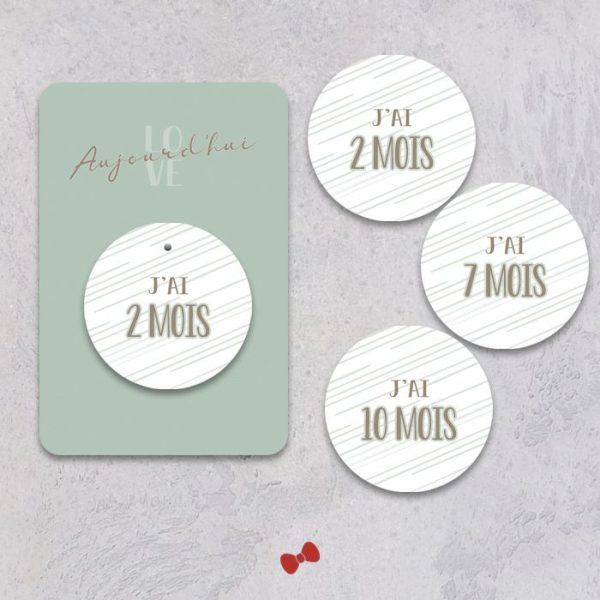 La fille au Noeud Rouge - carte mois par mois bébé collection modern love