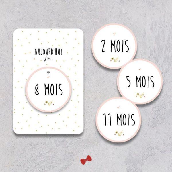 La fille au Noeud Rouge - carte mois par mois bébé collection naissance petits pois fleuris
