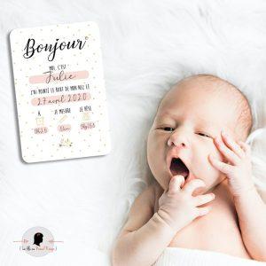 La fille au Noeud Rouge - carte premier jour bébé collection naissance petits pois fleuris photo