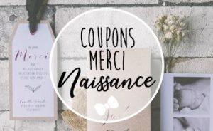 Coupons remerciement Naissance