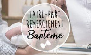 Faire-part Remerciement Baptême