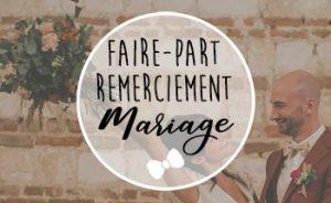 Faire-part Remerciement Mariage