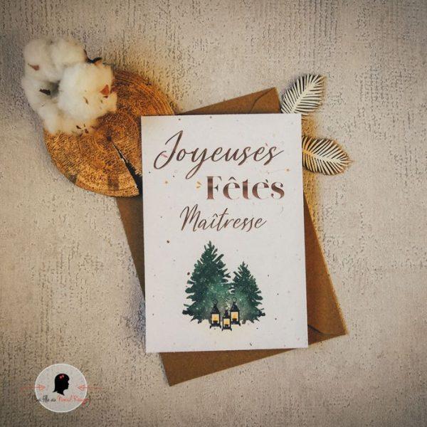 La fille au Noeud Rouge -Carte à planter joyeuses fêtes ambiance chaleureuse guirlande cerf kraft papier ensemencé photo