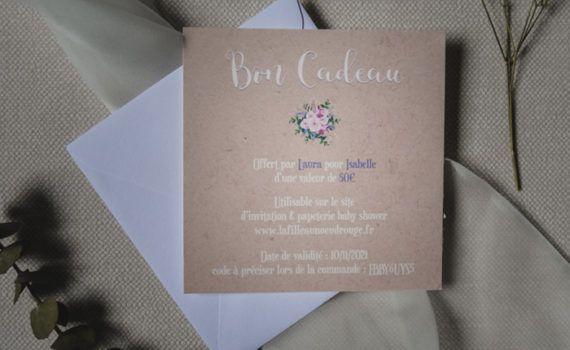 La fille au Noeud Rouge - Carte cadeau baby shower invitation papeterie