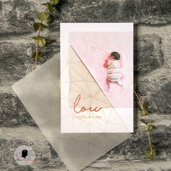 La fille au Noeud Rouge - Faire-part naissance pure papier calque couleurs nature terre