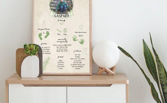 La fille au Noeud Rouge - Affiche anniversaire personnalisée animaux de la forêt origami végétal