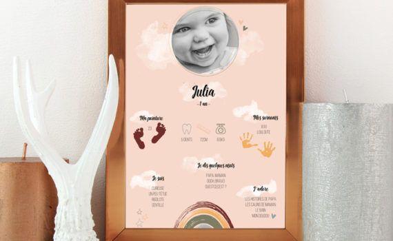La fille au Noeud Rouge - Affiche anniversaire personnalisée collection arc en ciel et merveilles