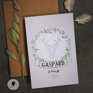 La fille au Noeud Rouge - Invitation anniversaire animaux de la forêt origami végétal 2