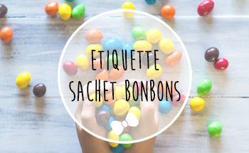 Etiquette anniversaire sachet de bonbons