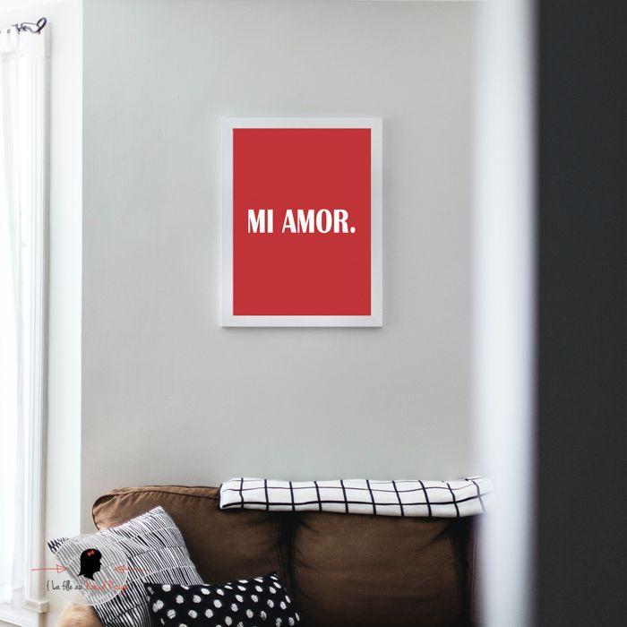 La fille au Noeud Rouge - Affiche de la Saint Valentin Mi Amor Affiche de la Saint Valentin Mi Amor