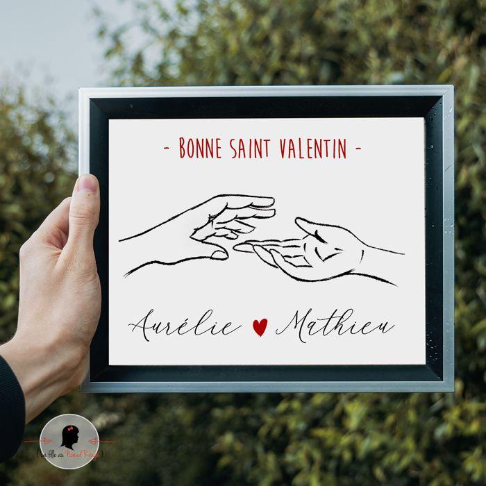La fille au Noeud Rouge - Affiche de la Saint Valentin deux mains