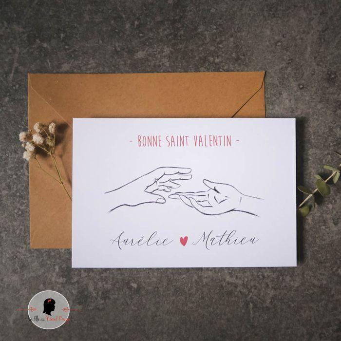 La fille au Noeud Rouge - Carte de la Saint Valentin deux mains