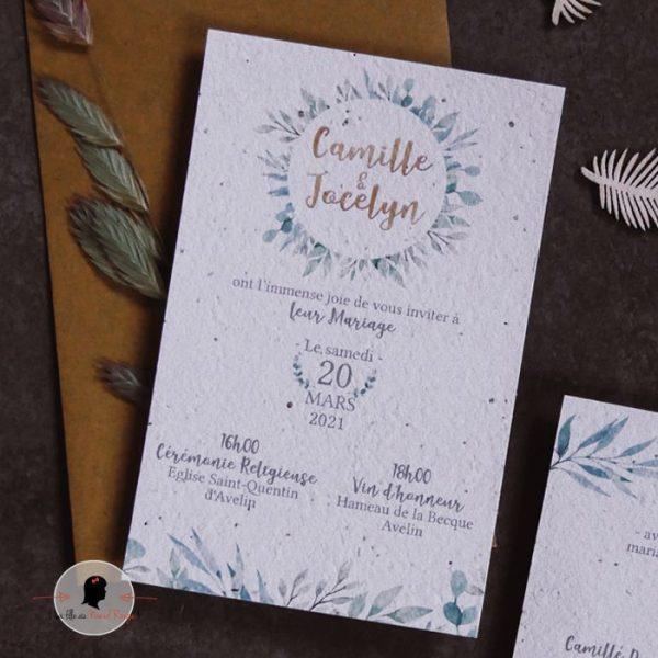 La fille au Noeud Rouge - Faire-part mariage eco responsable bohème papier ensemencé nature