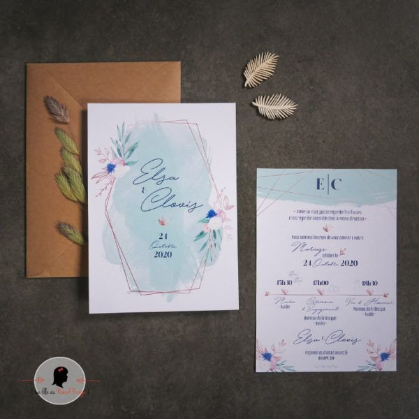 La fille au Noeud Rouge - Faire-part mariage sage green romantique fleurs aquarelle vert bleu cuivre 2
