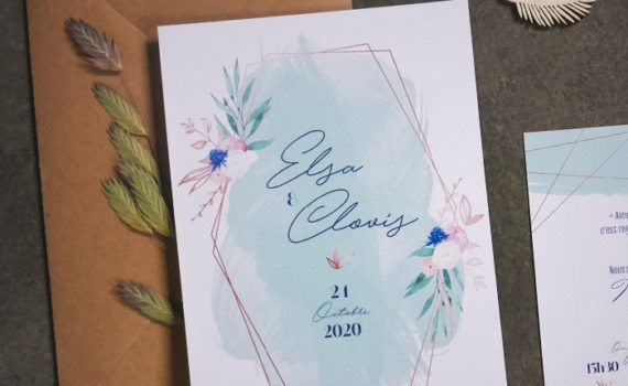 La fille au Noeud Rouge - Faire-part mariage sage green romantique fleurs aquarelle vert bleu cuivre