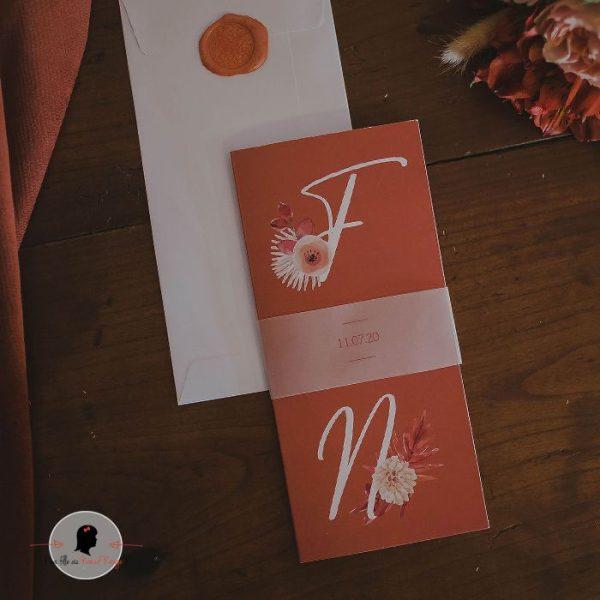 La fille au Noeud Rouge - Faire-part mariage terracotta fleuri minimaliste papier calque fleurs aquarelle 2
