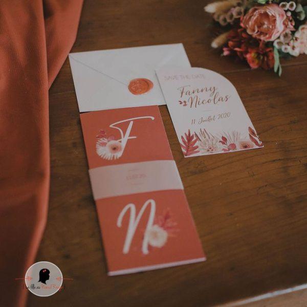 La fille au Noeud Rouge - Faire-part mariage terracotta fleuri minimaliste papier calque fleurs aquarelle 3