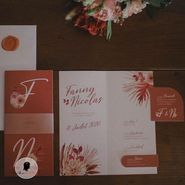 La fille au Noeud Rouge - Faire-part mariage terracotta fleuri minimaliste papier calque fleurs aquarelle