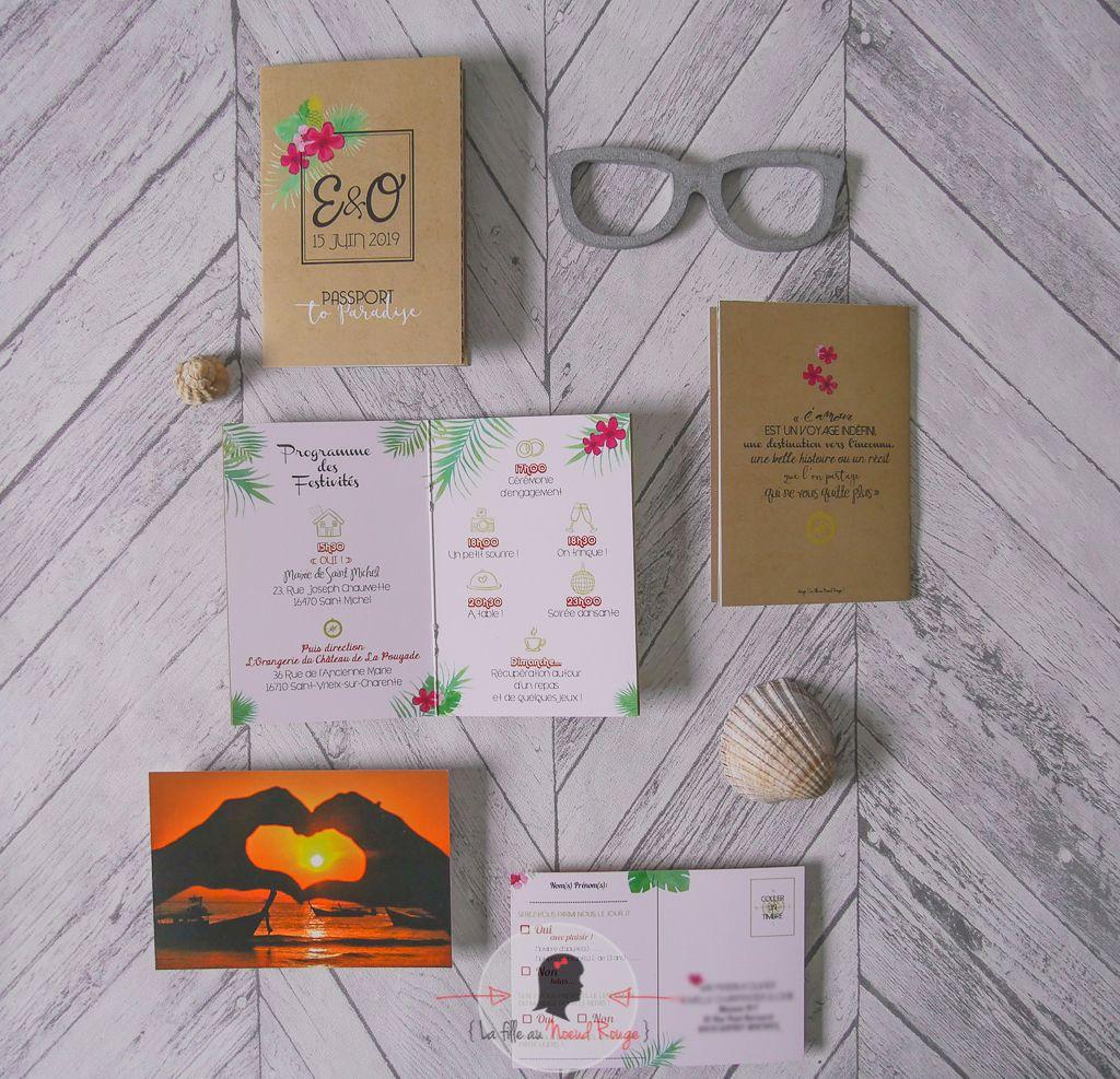 La fille au Noeud Rouge - faire-part mariage voyage passeport carte postale fleurs tropicales soleil-8 copie